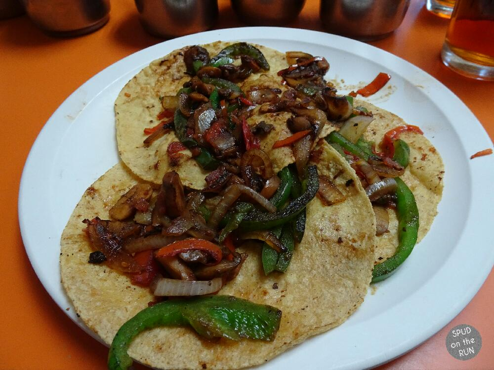 Three veggie tacos from Tacos Álvaro